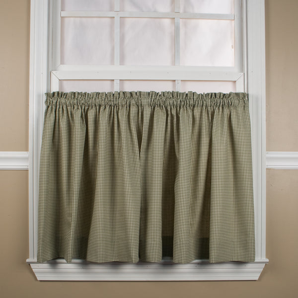 Logan Check Rod Pocket Tier/ Valance - Tier 068x024 Green C31811- Marburn Curtains