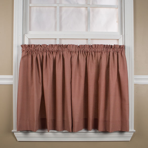 Logan Check Rod Pocket Tier/ Valance - Tier 068x024 Red C31813- Marburn Curtains