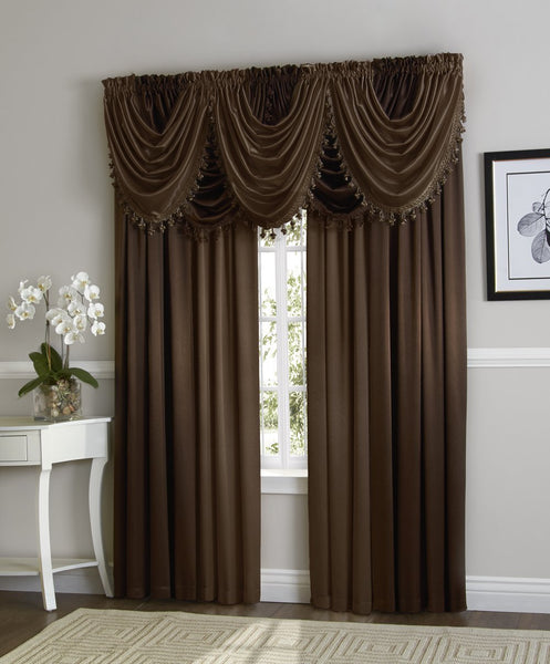 Hilton Rod Pocket Panel/Waterfall Valance - Panel Coffee 054x084 C27955- Marburn Curtains