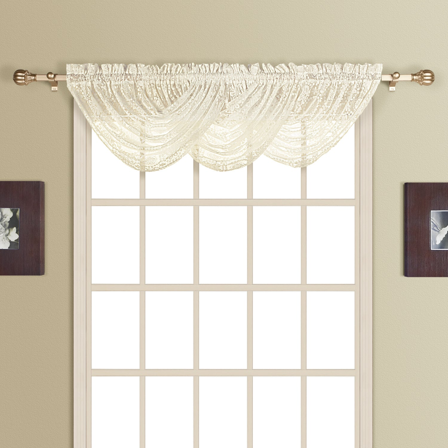 New Rochelle Lace Curtain Collection - Waterfall Valance 044x038 Natural C23235- Marburn Curtains