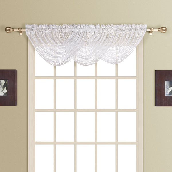 New Rochelle Lace Curtain Collection - Waterfall Valance 044x038 White C23236- Marburn Curtains