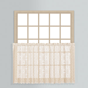 New Rochelle Lace Rod Pocket Tier/Valance - Tier 056x024 Natural C33417- Marburn Curtains