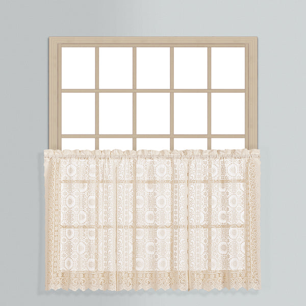 New Rochelle Lace Curtain Collection - Tier 056x024 Natural C33417- Marburn Curtains