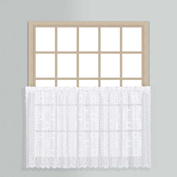 New Rochelle Lace Rod Pocket Tier/Valance - Tier 056x024 White C33418- Marburn Curtains