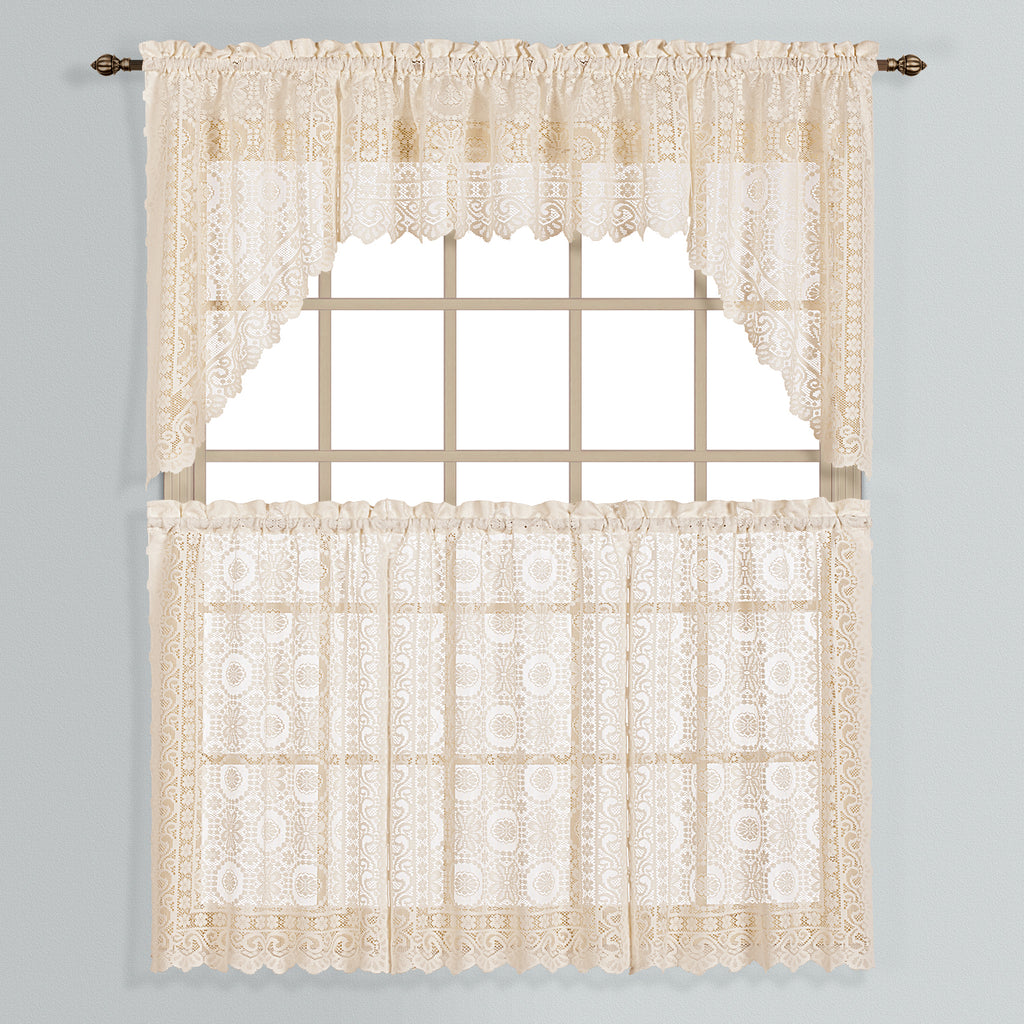 New Rochelle Lace Rod Pocket Tier/Valance