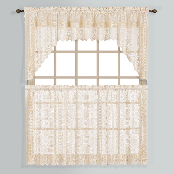 New Rochelle Lace Rod Pocket Tier/Valance - - Marburn Curtains