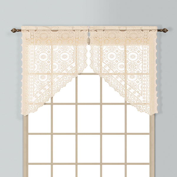 New Rochelle Lace Rod Pocket Tier/Valance - Swag 056x038 Natural C33423- Marburn Curtains