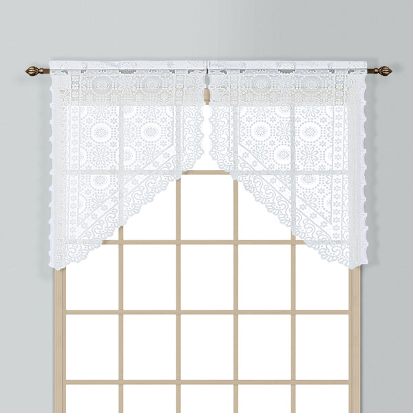 New Rochelle Lace Rod Pocket Tier/Valance - Swag 056x038 White C33424- Marburn Curtains