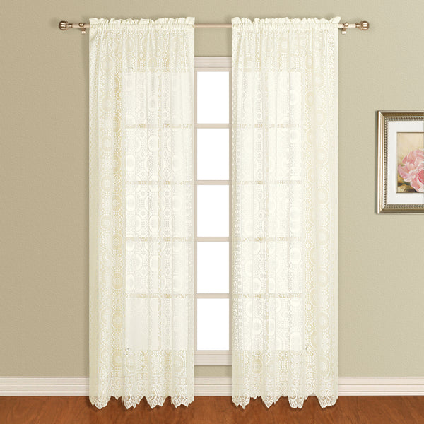 New Rochelle Lace Curtain Collection - Panel   056x063 Natural C33413- Marburn Curtains