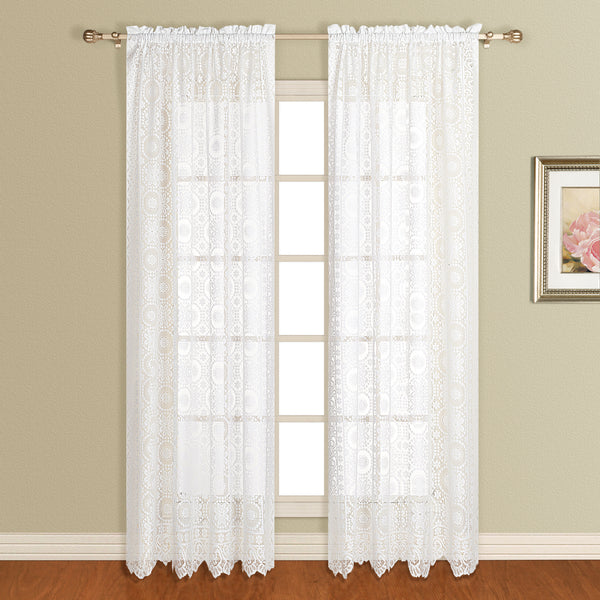 New Rochelle Lace Curtain Collection - Panel   056x063 White C33414- Marburn Curtains