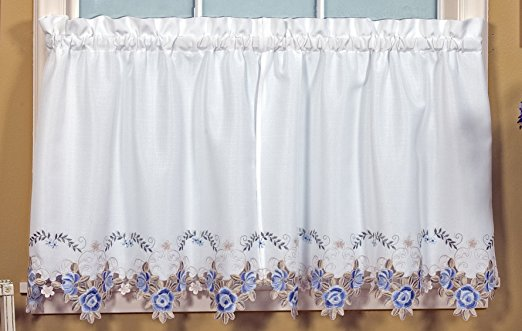 Verona Embroidery Rod Pocket Collection - Tailored Valance 070x018 White Blue C30533- Marburn Curtains