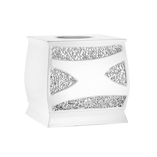 Sinatra Fabric Bath Collection White - Tissue Box 6x6x7- Marburn Curtains