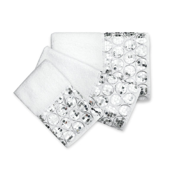 Sinatra Fabric Bath Collection White - Towel Set-3 Pc 24x48/16x24/12x12- Marburn Curtains