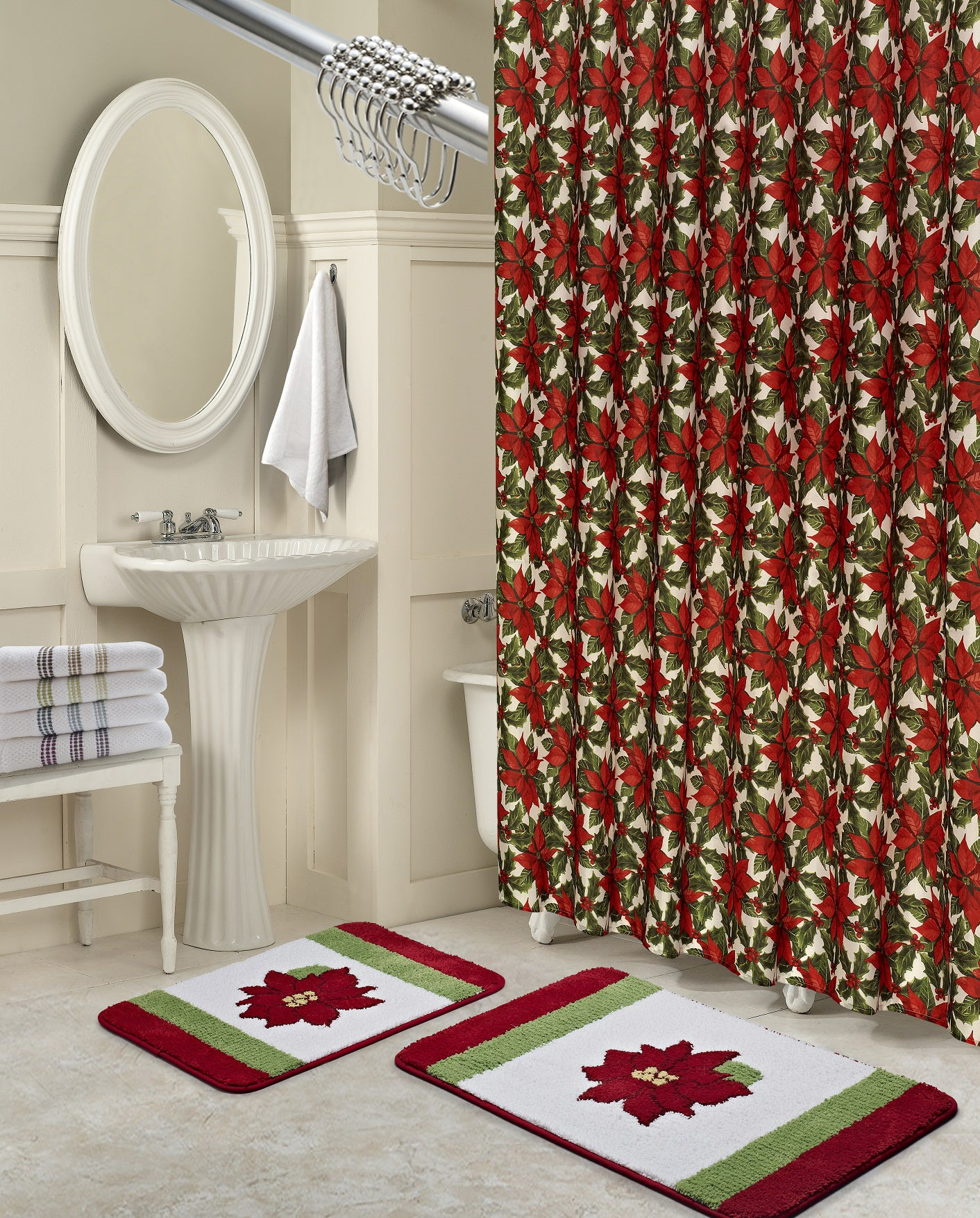 Poinsettia 15 Piece Holiday Shower Curtain SetPoinsettia 15 Piece Holiday Shower Curtain Set   Marburn Curtains. Maroon Shower Curtain Set. Home Design Ideas