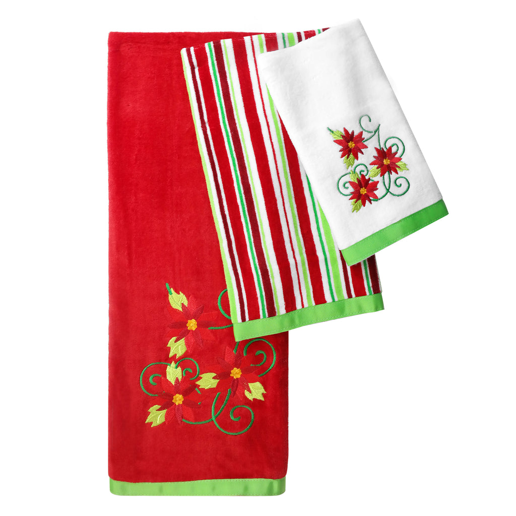 Poinsettia 3 Piece Holiday Bath Towel Set
