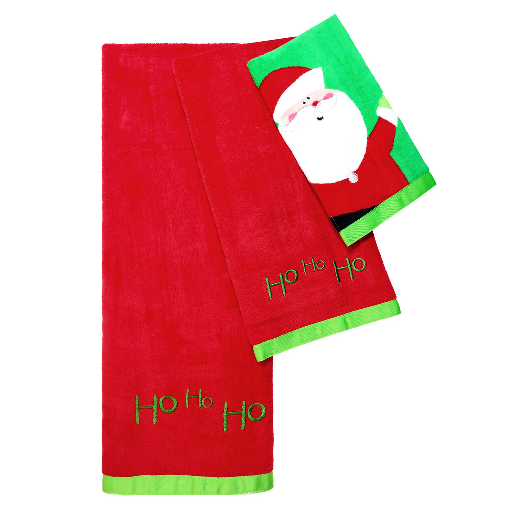 Santa 3 Piece Holiday Bath Towel Set