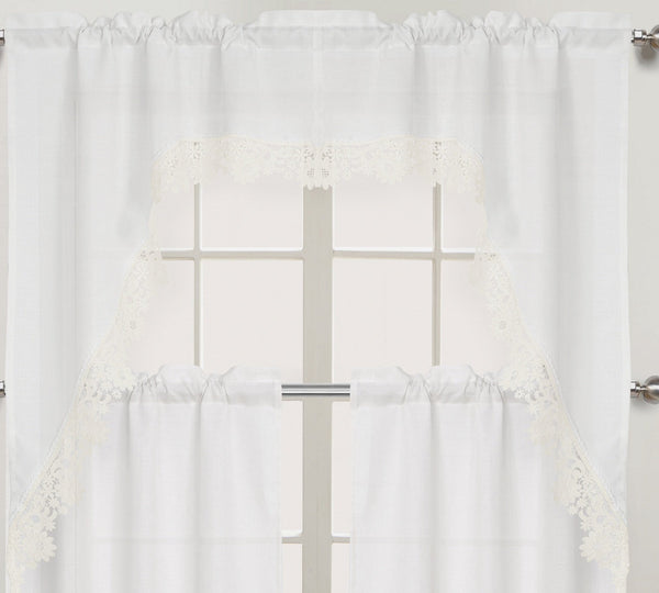 Nancy Rod Pocket Lace Trimmed Swag - 054x038   White C43699- Marburn Curtains