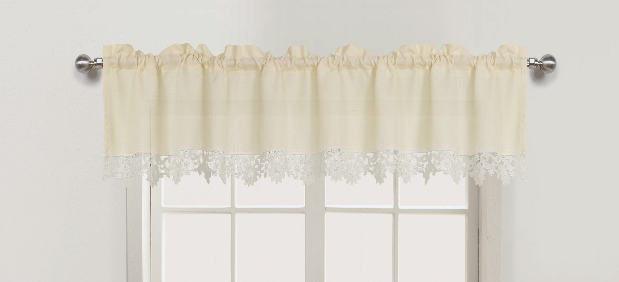 Nancy Rod Pocket Lace Trimmed Valance - 056x012   Beige C43689- Marburn Curtains