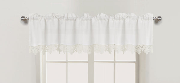 Nancy Rod Pocket Lace Trimmed Valance - 056x012   White C43690- Marburn Curtains
