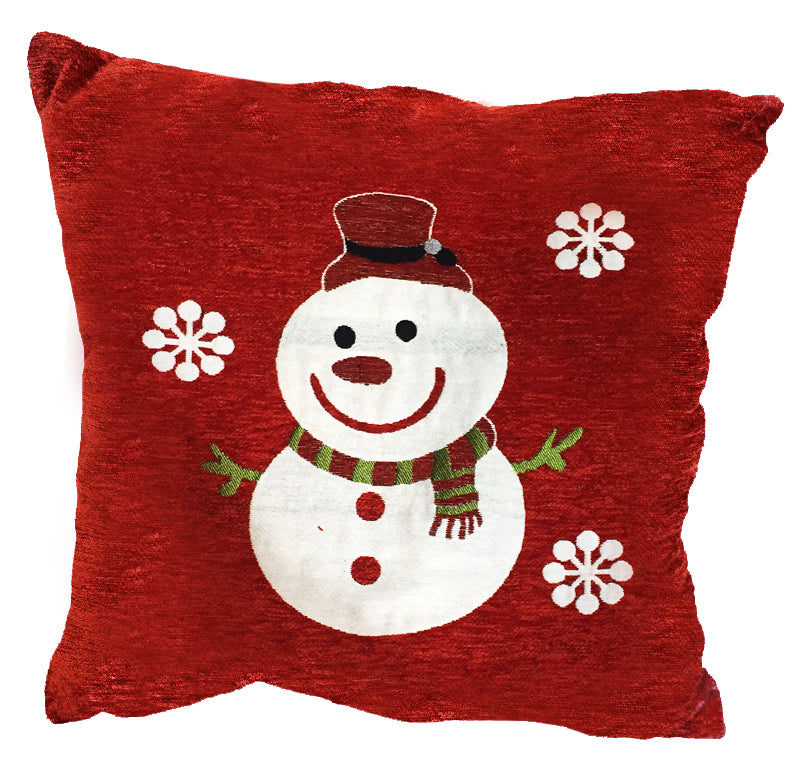 "Snowman Flakes Decorative Holiday Toss Pillow 18""x18"""