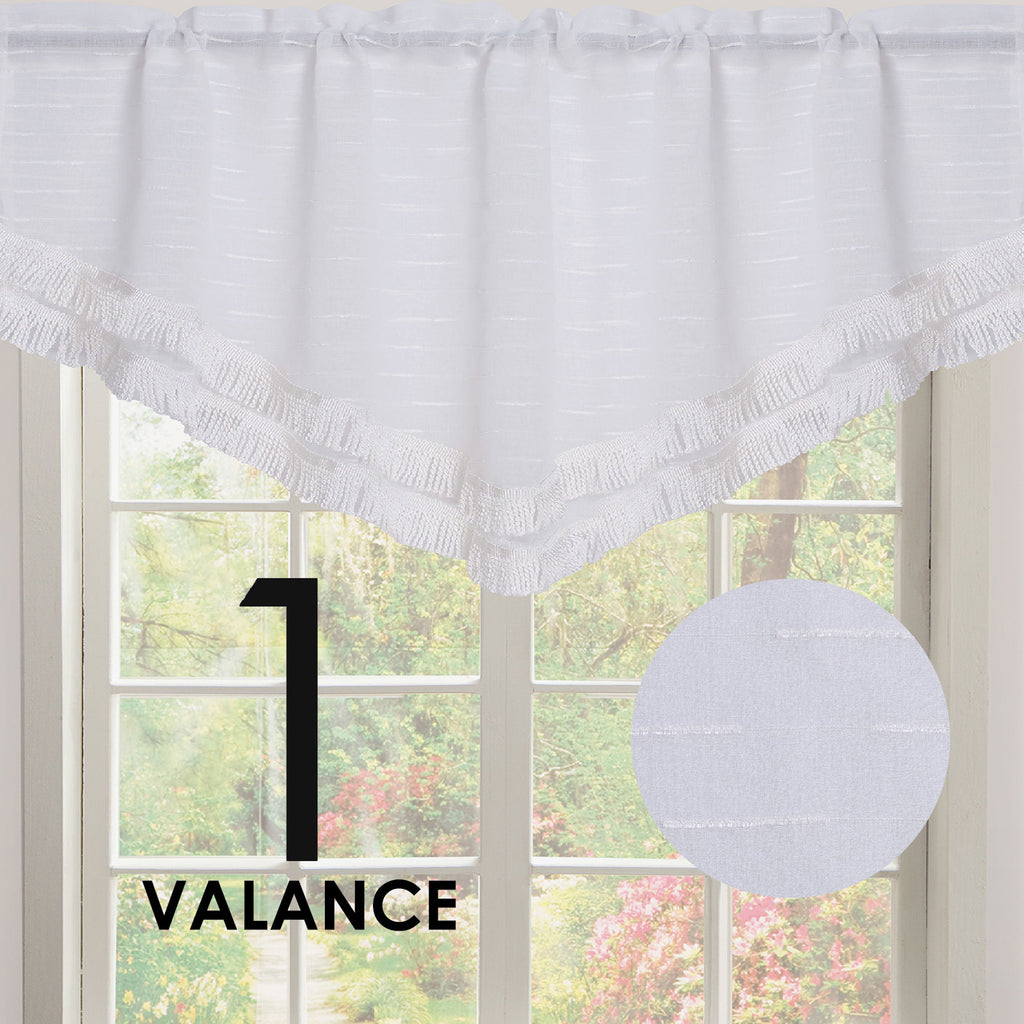 Roma Double Layer Rod Pocket Ascot Valance with Tassel Trim