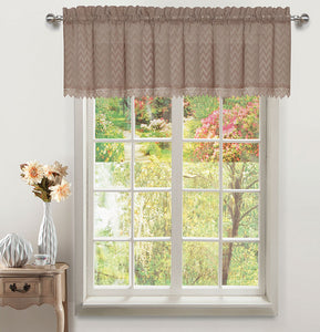 Chiffon Rod Pocket Valance - 056x012   Toast c43709- Marburn Curtains