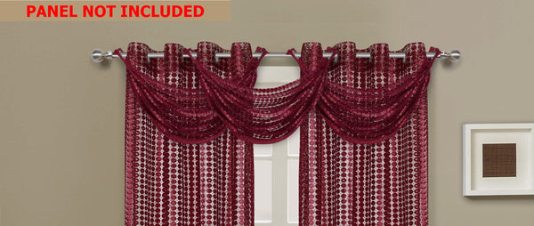 Links Waterfall Valance - 030x020   Burgundy- Marburn Curtains