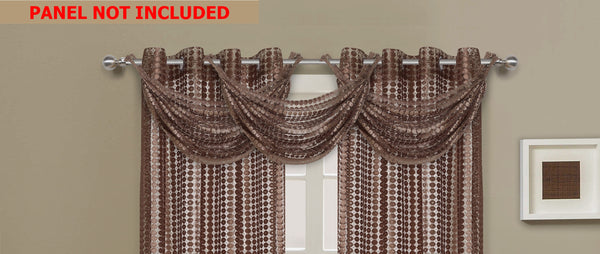 Links Waterfall Valance - 030x020   Taupe- Marburn Curtains