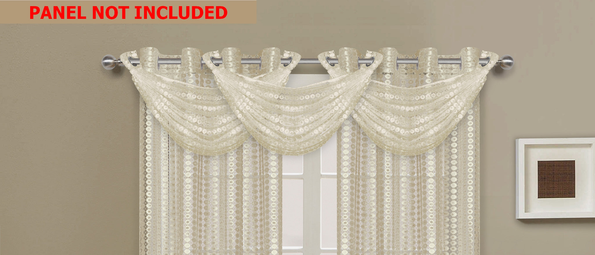 Links Waterfall Valance - 030x020   Beige- Marburn Curtains