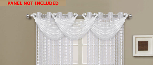 Links Waterfall Valance - 030x020   White- Marburn Curtains