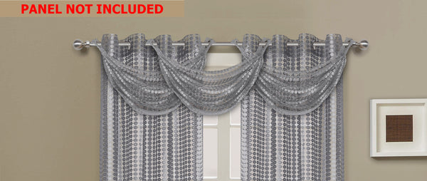 Links Waterfall Valance - 030x020   Silver- Marburn Curtains
