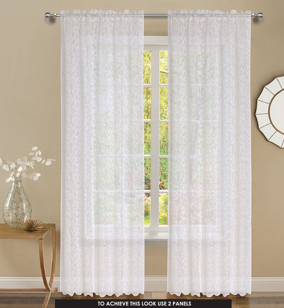 Mirage Rod Pocket Panel - 056x063   White C43925- Marburn Curtains