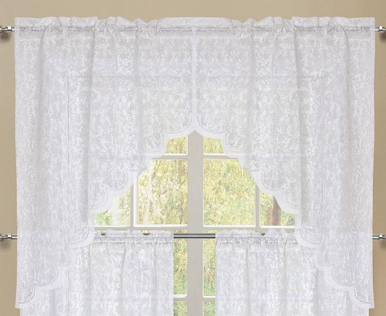 Mirage Rod Pocket Swag - 056x038   White C43943- Marburn Curtains