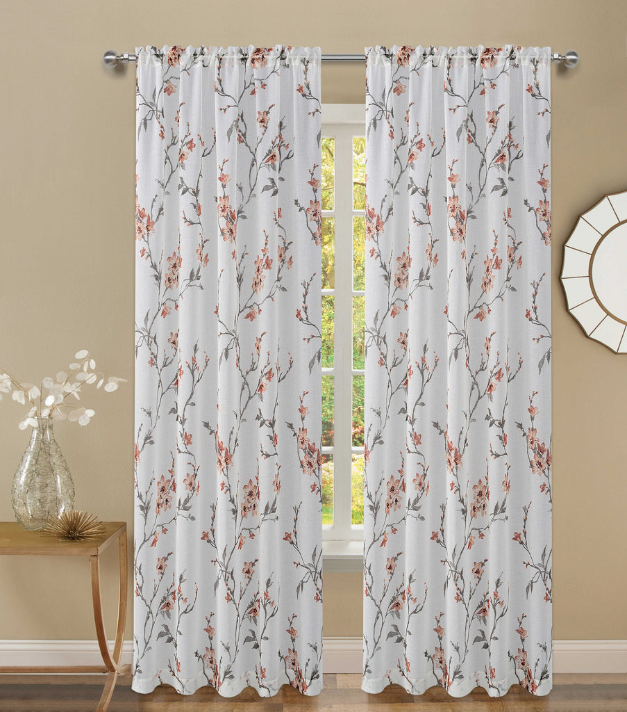 Floral Twigs Rod Pocket Valance 054x014   Brick