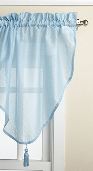 Reverie Rod Pocket Semi-Sheer Snow Voile Panel Collection - Ascot Valance 040x025 Blue C33484- Marburn Curtains