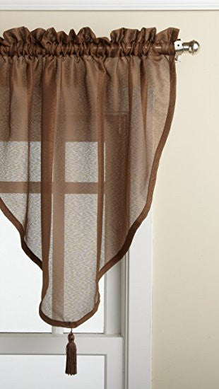 Reverie Rod Pocket Semi-Sheer Snow Voile Panel Collection - Ascot Valance 040x025 Chocolate C33486- Marburn Curtains