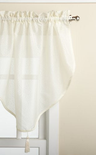 Reverie Rod Pocket Semi-Sheer Snow Voile Scarf Valance - Ascot Valance 040x025 Eggshell C33487- Marburn Curtains