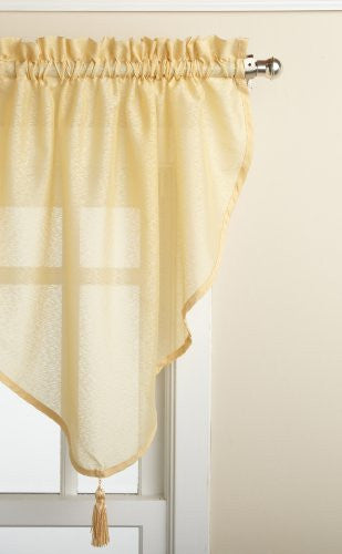 Reverie Rod Pocket Semi-Sheer Snow Voile Panel Collection - Ascot Valance 040x025 Gold C33488- Marburn Curtains
