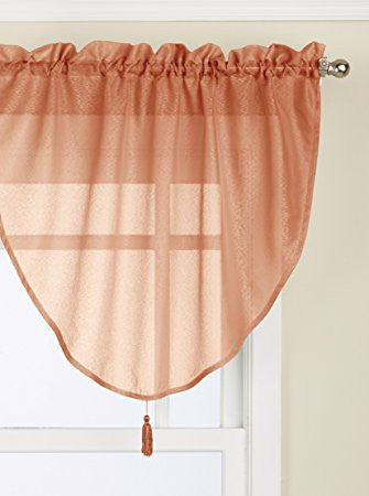 Reverie Rod Pocket Semi-Sheer Snow Voile Panel Collection - Ascot Valance 040x025 Spice C29001- Marburn Curtains