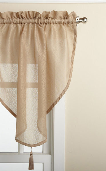 Reverie Rod Pocket Semi-Sheer Snow Voile Panel Collection - Ascot Valance 040x025 Taupe C33490- Marburn Curtains