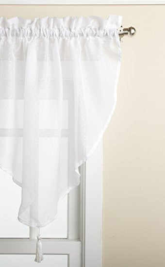 Reverie Rod Pocket Semi-Sheer Snow Voile Scarf Valance - Ascot Valance 040x025 White C33491- Marburn Curtains