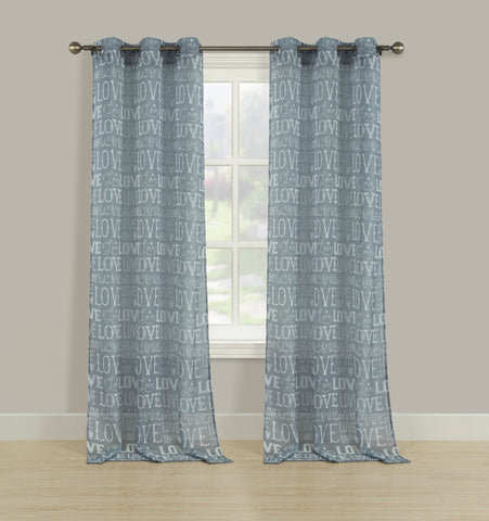 Amour Semi-Sheer Print Grommet Panel - 052x063 Grey C42237- Marburn Curtains