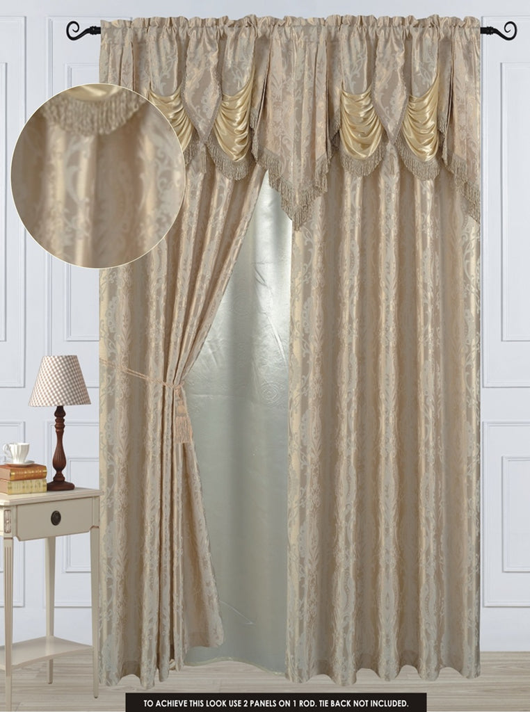 "Antoinette Rod Pocket Panel 84"" with attached Valance"
