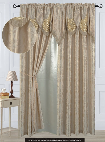 "Antoinette Rod Pocket Panel 84"" with attached Valance - Beige  C42749- Marburn Curtains"