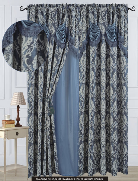"Antoinette Rod Pocket Panel 84"" with attached Valance - Blue  C42750- Marburn Curtains"