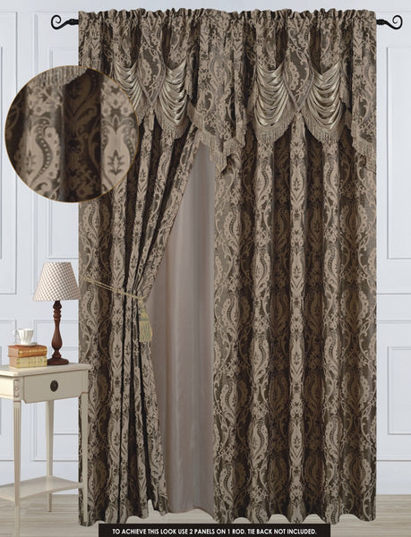 "Antoinette Rod Pocket Panel 84"" with attached Valance - Taupe  C42748- Marburn Curtains"
