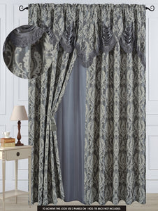 "Antoinette Rod Pocket Panel 84"" with attached Valance - Silver  C42747- Marburn Curtains"