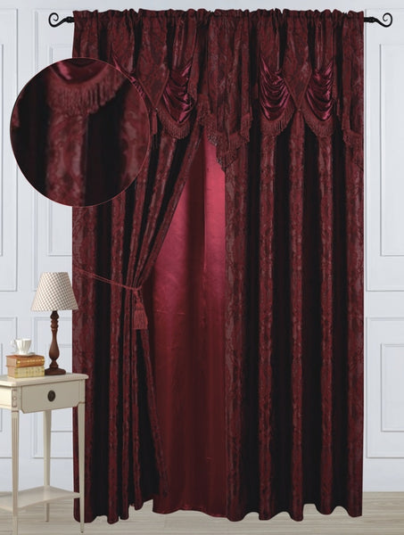 "Antoinette Rod Pocket Panel 84"" with attached Valance - Burgundy  C42751- Marburn Curtains"