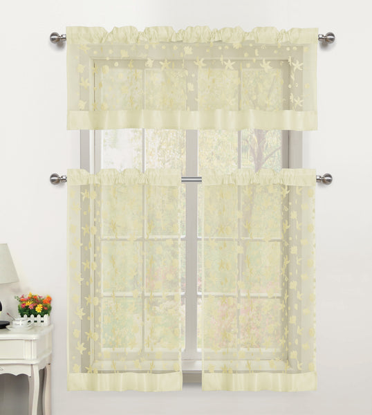 Beaches Sheer Rod Pocket Tiers - 054x024   Beige- Marburn Curtains
