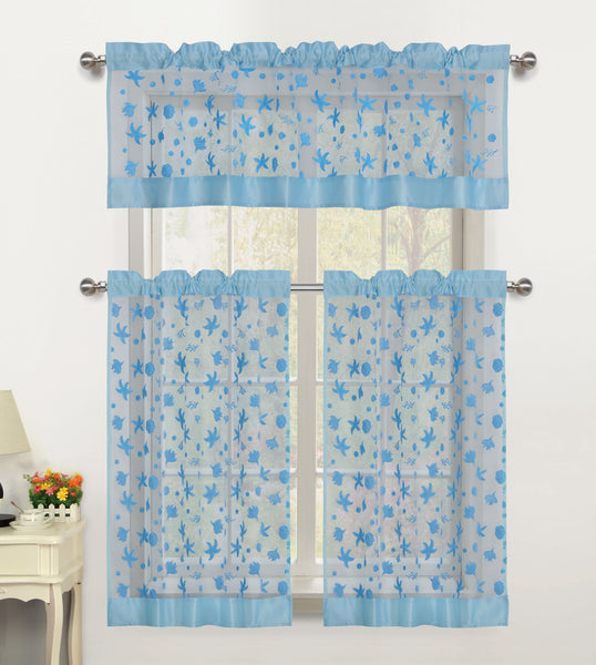 Beaches Sheer Rod Pocket Tiers - 054x024   Light Blue- Marburn Curtains